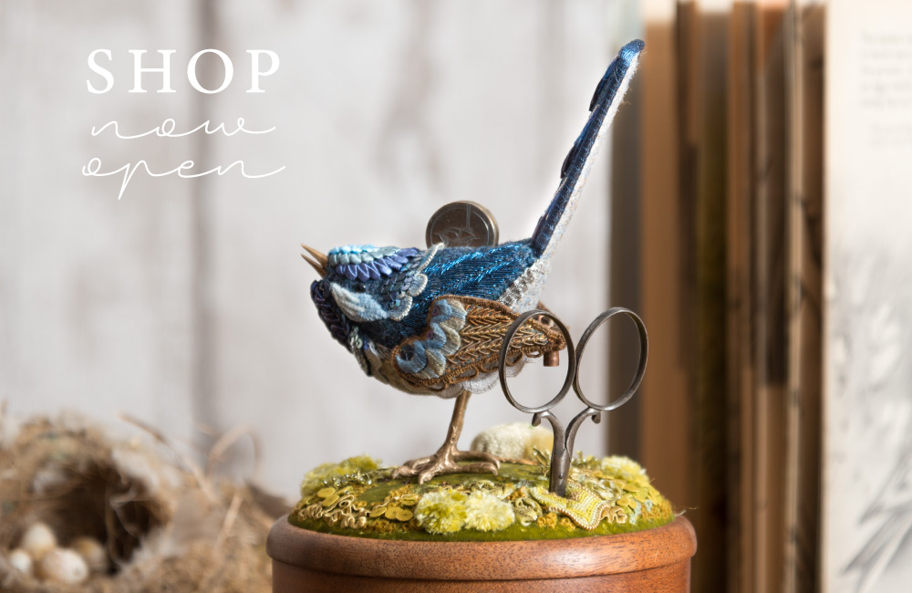 Shop now open, with a photo of Jenny's Blue Wren Etui.