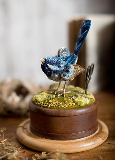 Blue Wren Etui, sat on a mossy hillock