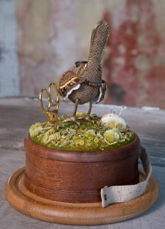 Hand embroidered Wren Etui, perched on a mossy hillock with pincushion and scissors