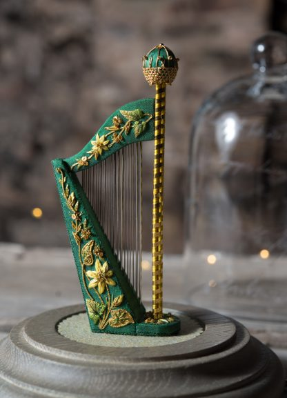 The Wordsworth Harp Needlecase with gold metal embroidery, by Jenny Adin-Christie
